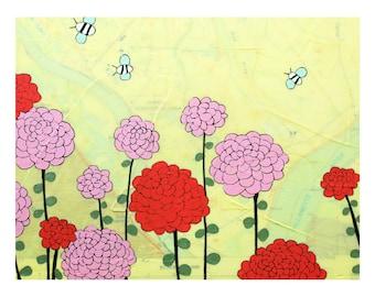 Sauvie Island Map Print // Travel Art // Bee Art // Oregon Map //Modern Nursery // Rachel Austin Art 11x14 // Map Art // Modern Decor