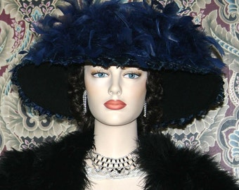 Ascot Hat Kentucky Derby Hat Wide Brim Tea Hat Titanic Hat Somewhere in Time Hat Downton Abbey Hat Edwardian Hat Feathered Hat - Lady Anna
