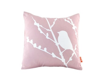 Light Pink Pastel Bird on Cherry Blossom - Mini 10.5 Inches Square Pillow
