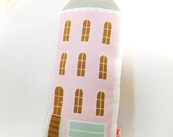 Pink House Plush Pillow / Children's Decor/ Modern Nursery/ Pillow/Cushion/House Soft Toy