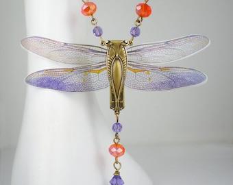 Dragonfly Necklace Violet Orange Art Nouveau Vintage Inspired Dragonfly Jewelry