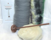 Drop Spindle Yarn Spinning Kit Earthy Available in Both Top or Bottom Whorl, Free Shipping in US