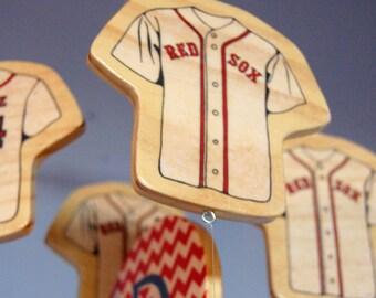 Baby Mobile - Baseball Mobile - Wooden Baby Mobile for Baseball Themed Nursery - Boston Red Sox