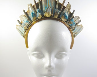 Blue Apatite Stone and Eucalyptus Crystal Mermaid Crown - by Loschy Designs