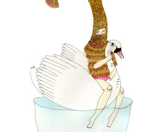 A3 or A4 Print: Swan Rider  Limited Edition Giclee Signed and Numbered Print
