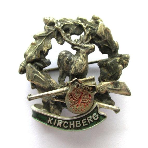 German Hat Pins: Enamel Stag Brooch Pin German Hat Pins Deer Brooch Enamelled