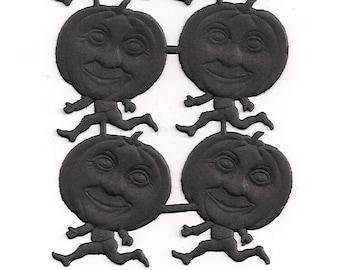 German Dresden Trim BLACK Halloween Pumpkin Man - Embossed & Die Cut Paper Scrap - Vintage Style - 8 Pieces