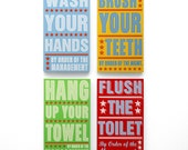Bathroom Prints- Bathroom Art- Set of 4 Order of Management Kids Room Art- Kids Wall Art- Bathroom Wall Decor Box Signs