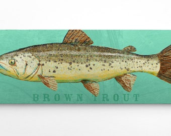 Trout Fishing Gifts for Him- Brown Trout Art Block- Lake Home Art- Husband- Gifts for Boyfriends- Trout Print- Guy Gifts- for Men- Dad Gifts