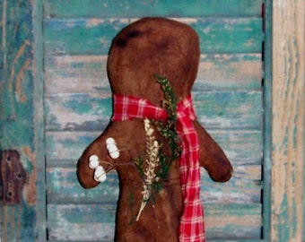 Large Gingerbread Doll, Handmade Primitive Doll, American Made Christmas Decor, Red Homespun Scarf, Sweet Annie & Tallow Berries