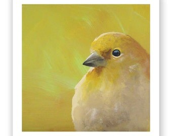 Suppressing This Passion Is Not An Easy Task 8 x 8 Art Print - Bird - Giclee - Yellow - Gift - Mincing Mockingbird