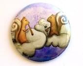 "2.25"" Inch Pocket Mirror - Cinnamon Squirrel - Cute Squirrels with Cinnamon Sticks and Cinnamon Bun Tails - Art by Marcia Furman"
