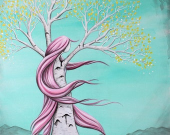 Content - 8x10 Art Print  - Whimsical Tree Girl with Pink Hair, Yellow Leaves and Aqua Sky - Art by Marcia Furman