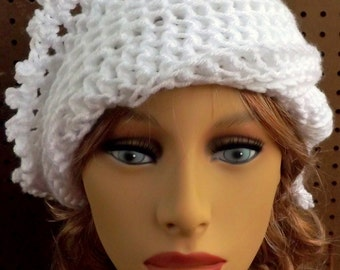 Crochet Hat Womens Hat, Steampunk Hat, Womens Crochet Hat LISA Picot Crochet Beanie Hat, White Hat, Crochet Hat