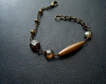 cabal - organic earth tone gemstone assemblage bracelets - earthy boho occult festival fashion