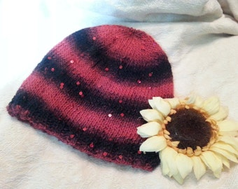 Red and black striped sparkle knit hat