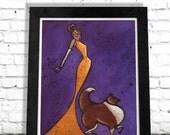 Rough Collie, Lassie Dog Art Print, Woman Dog Art, Colorful Art Print, Fashionista Print, Pet Lover Gift, Home Decor, Elegant Art SHANO