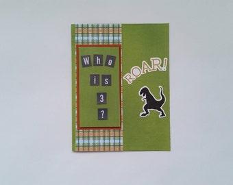Happy Birthday Card /  3 year old / Dinosaur