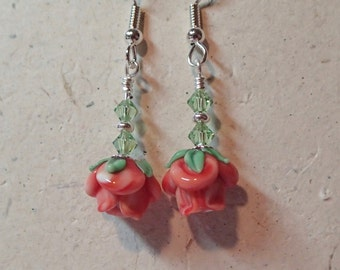 Light Red Flower Glass Earrings with Swarovski Peridot Accents on Silver