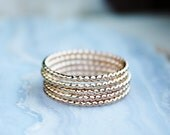 5 Golden Rings, gold stacking rings, 14k gold filled skinny rings,  bead twist, thin gold ring, gift for wife girlfriend