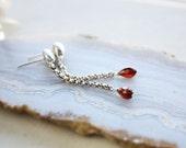 Garnet earrings, long silver earrings, recycled eco friendly silver, silver post earrings, statement earrings