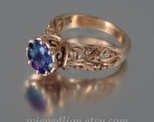 The ENCHANTED PRINCESS 14k rose gold Alexandrite engagement ring