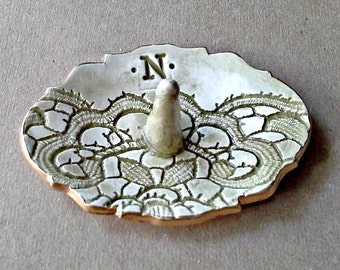 Personalized Ceramic Engagement Ring Holder  Letter N edged in gold