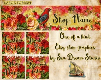 NEW Large Format Bird and Roses floral Etsy shop Banner graphics set by Sea Dream Studio  OOAK