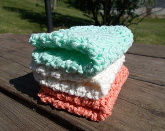 Dishcloths Set of 3 Crochet- Wash-Cleaning-Face Scrubbie