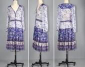1970s dress / india dress / cotton gauze / VIOLET SKY bohemian festival dress