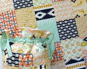 Baby Quilt Diaper Bag Set Patchwork Arizona Southwestern Style Tribal Aztec