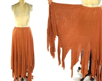 Raw Linen Skirt / Vintage 1980s Bohemian Skirt with Raw Edge Fringe / Dusty Coral Pink