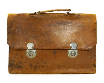 WWII Leather Briefcase / Vintage 1940s Distressed Leather Attache
