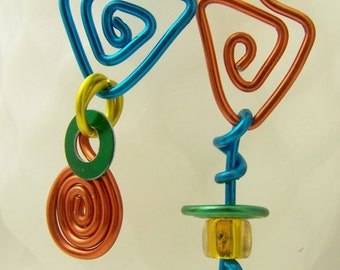 Handmade Aluminum Mix Up earrings in orange, turquoise, yellow, green  ITEM NO MU6