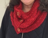 Ruby Red Cowl, Knitted with Button Closure