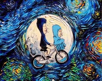 Beavis and Butthead Inspired Art Starry Night print van Gogh Never Met The Great Cornholio by Aja 8x8, 10x10, 12x12, 20x20, 24x24 choose