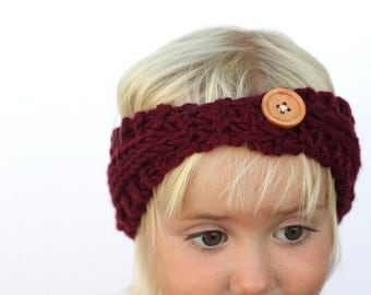 Knit Toddler Girl Red Ear Warmer Headband with Wooden Button
