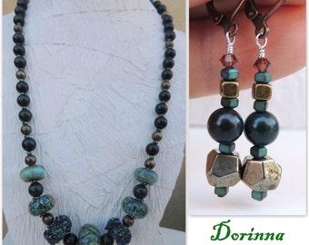 Dorinna Handmade Lampwork Bead, Stone Necklace