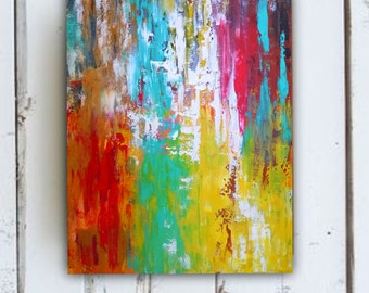 Abstract painting, colorful abstract on stretched canvas 16, living room art, kitchen art,bedroom art,dining room art, nursery art, 16 x 20
