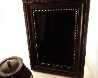 Gibson Girl Black Scrying Mirror with Faux Wood and Gold Detail Acrylic Frame