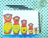 Matryoshka Pug Art Original Watercolor Painting, Funny Animal Art, Russian Nesting Doll, Folk Art, Cute Animal Art, Gifts for Her, Dog Art