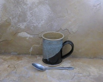 SALE - Mug Cup - Handmade Stoneware Pottery Ceramic - Gloss Black and Charcoal Grey -12 ounce
