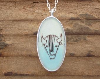 Deer Necklace- Reversible Enamel and Sterling Silver Bison Necklace
