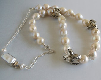 Baroque Pearl Necklace Natural Baroque Pearls Large Pearls Necklace June Birthday Baroque Pearl Wedding Necklace Pearl Statement Jewelry