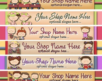 Raggedy Dreams  Designs - Premade Etsy Shop Banner - Etsy Banner - SHOP ICON - Cute Kids Children Wagons Flowers