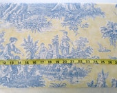 Blue and Yellow French Country Toile Canvas Fabric, Upholstery Fabric for Home Decorating, Sewing, Crafts, Vintage Print, By the Yard BTY