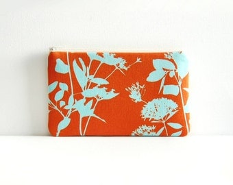 Medium Zipper Pouch, Makeup Bag, Cosmetic Case, Joel Dewberry Ginseng, Wildflowers in Rust