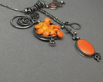 bright orange necklace sculpture sculptural wearable art modern collage oxidized silver multi pendant large necklace modern art