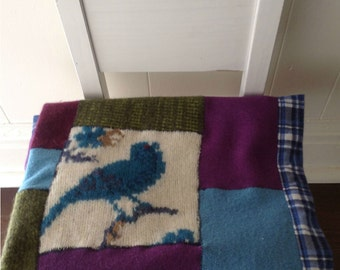 Felted Wool and Flannel Baby Blanket or Lap Blanket