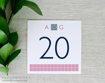 Preppy Wedding Table Numbers, Greek Key Table Numbers, Preppy Table Cards, Wedding Reception Cards, Rehearsal Dinner Table Numbers, Printed